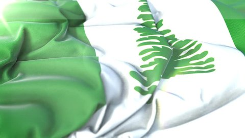 Norfolk Island flag.Flag of Norfolk Island Beautiful 3d animation of Norfolk Island flag in loop mode.