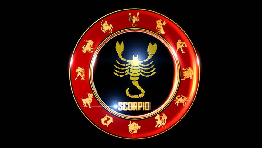 SCORPIO Nice rotating 3d golden symbol of zodiac sign