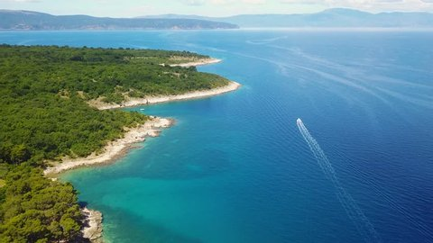 Panoramic view o3f seascape of Krk Island in Croatia