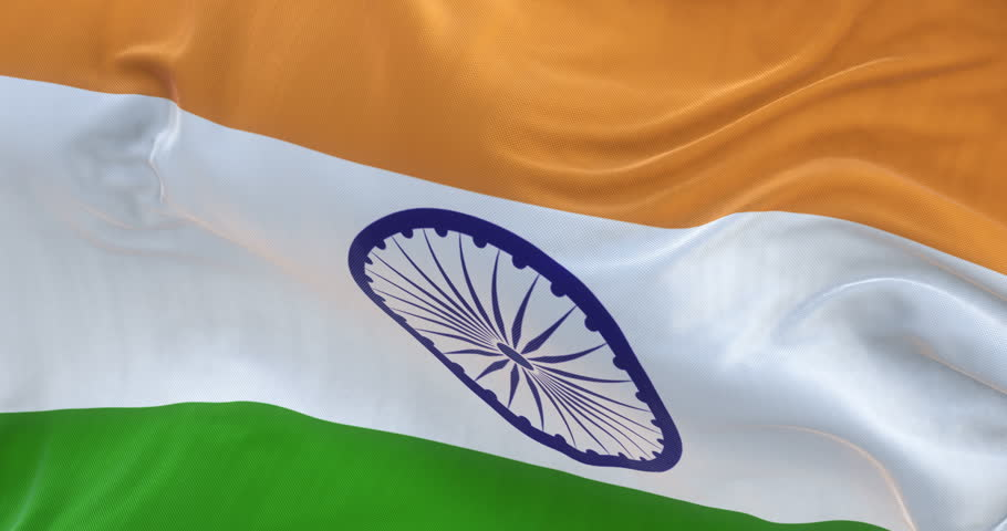Loopable full screen India flag is waving in slow motion. 3d rendering.