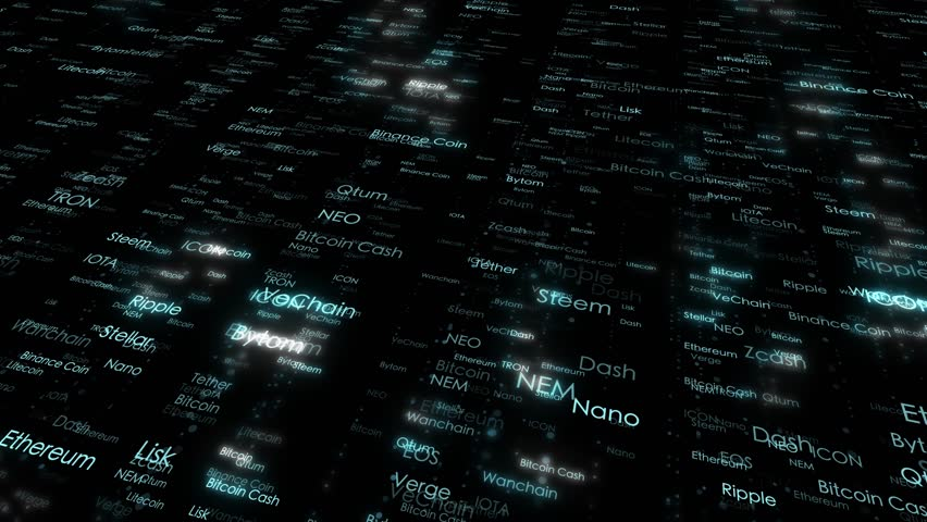Shiny cryptocurrency word names cloud motion background. | Shutterstock HD Video #1011591047