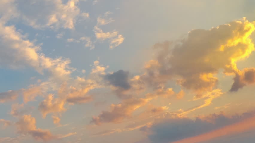TIME LAPSE: Summer red sky with moving clouds, sun shining and moving clouds at sunset, time lapse with copy space. | Shutterstock HD Video #1011593117