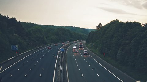 Slow traffic on M5 Motorway B, Captured in Clapton-in-Gordano, England - split toning