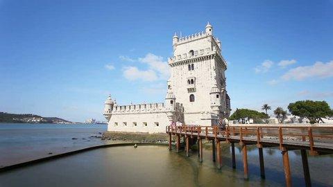 Belem tower timelapse. Belem tower is an ancient fort in Lisbon, Portugal.