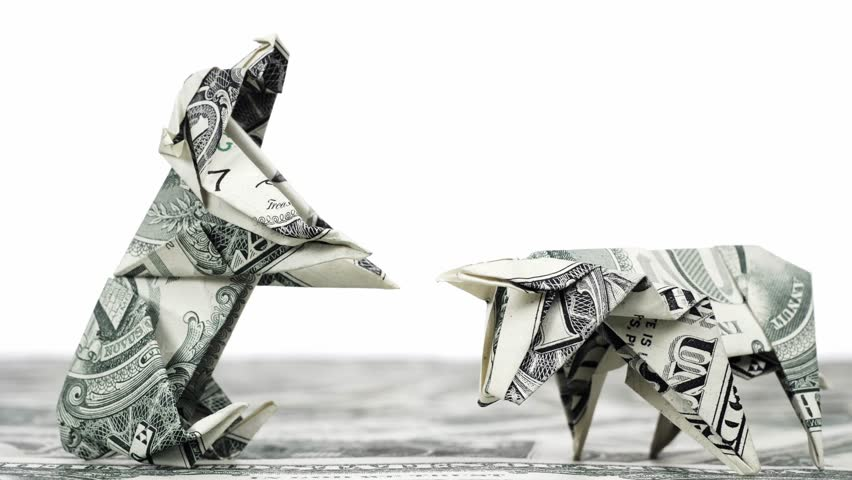 Bear and bull market concept Dollar origami close up | Shutterstock HD Video #1011640967