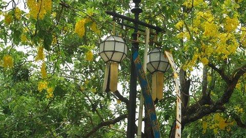 traditional lanna yeepeng lantern decorate in chiangmai city, thailand