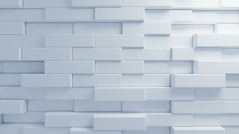 Beautiful White Bricks Moving in the Wall in Seamless 3d Animation. Abstract Motion Design Background. Computer Generated Process. 4k UHD 3840x2160.