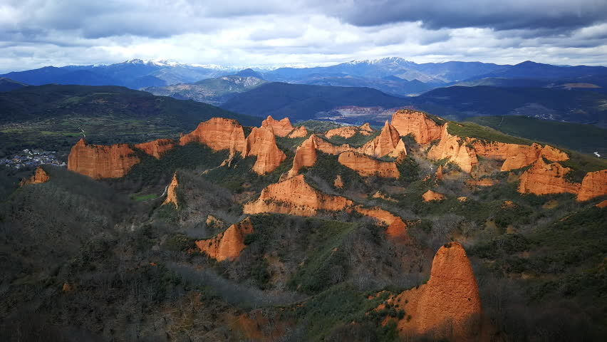 Impressive landscape of Las Medulas. Ancient Roman gold mines. Heritage of humanity by unesco. El Bierzo Leon. Spain