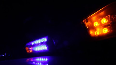 Rotating Lights on Police Car in the night