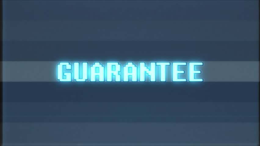Retro videogame GUARANTEE word text computer tv glitch interference noise screen animation seamless loop  | Shutterstock HD Video #1011696947