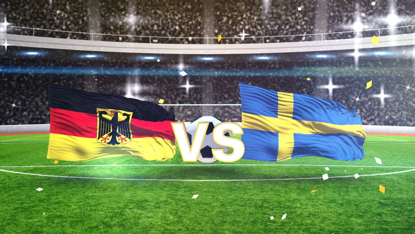 3D animation of Germany vs Sweden with soccer ball 2018 | Shutterstock HD Video #1011708497