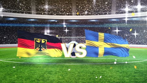 3D animation of Germany vs Sweden with soccer ball 2018