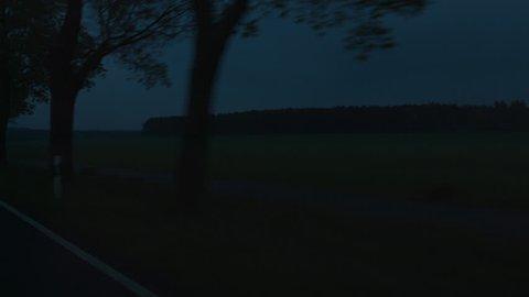 Berlin Countryside Driving Plates, Night. May, 2017 Berlin, Germany