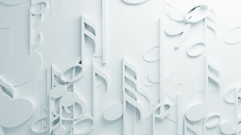 Beautiful White Music Notes on Surface Moving in Seamless 3d Animation. Abstract Motion Design Background. Computer Generated Process. 4k UHD 3840x2160.