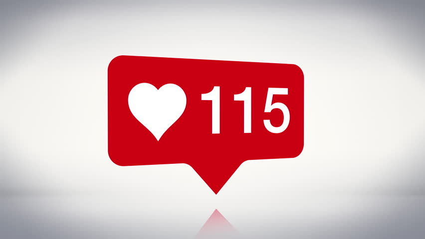 3D Like Heart Icon Animated Social Counter Notification, Expanding Number Count