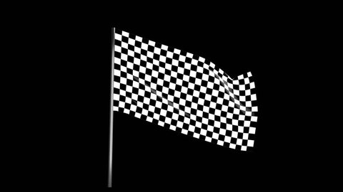 Checkered race flag waving with an alpha channel