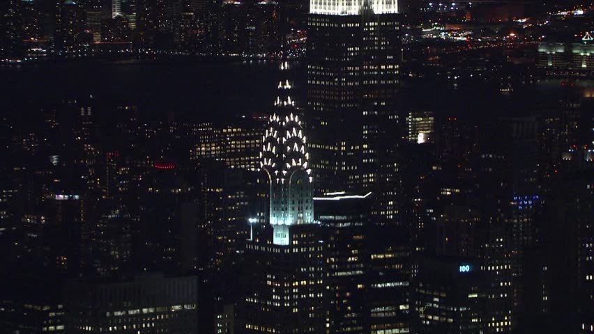 Hd0025New York City Circa 2018 Aerial NX Establishing Shot Of Chrysler Building And Empire State Lit Up In Lights At Night