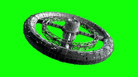 Circular space station. Giant sci-fi torus rotate on green screen, 3d animation.