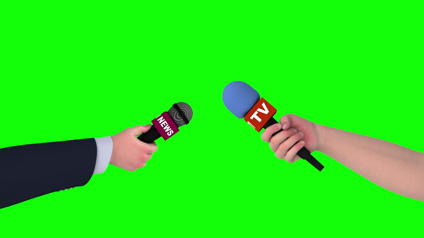 Two hands with microphones on green screen, 3d animation. #1011773357