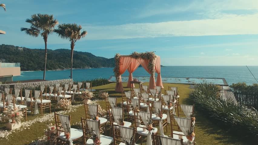 beautiful wedding setup on tropical beach background aerial drone shot of beautiful
