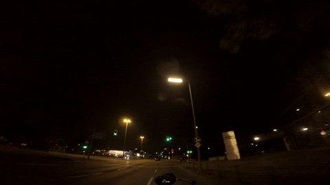 Autobahn driving plates, night. May, 2017 Berlin, Germany