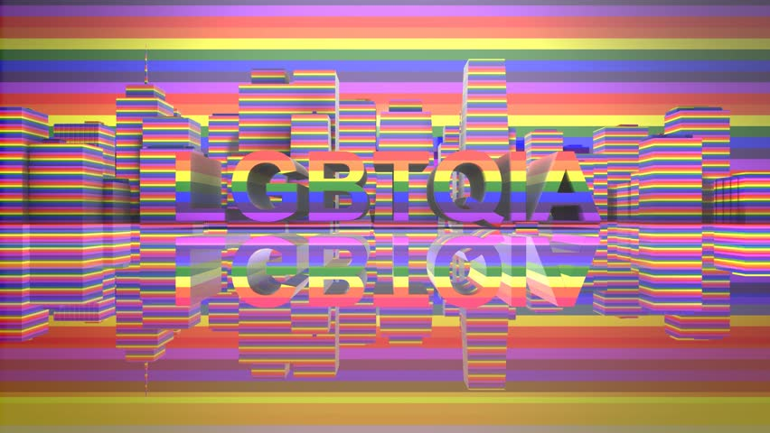 LGBTQIA Community Gay Pride LGBT Mardi Gras graphic title 3D render. The letters LGBT & LGBTQIA refer to lesbian, gay, bisexual, transgender, queer or questioning, intersex, and asexual or allied.