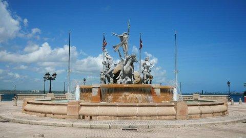 La Princesa Fountain oceanfront promenade in Old San Juan - Puerto Rico.