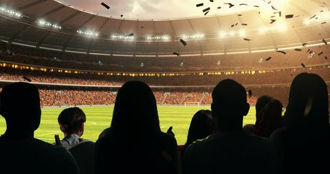 Fans celebrating the success of their favorite sports team, a woman is waving with scarf on the stands of the professional stadium while the sun shines. Stadium is made in 3D and animated.