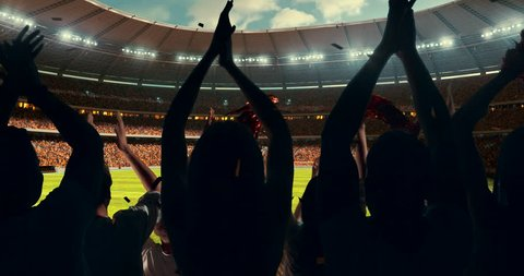Fans clapping hands to cheer their favorite sports team on the stands of the professional stadium. Stadium is made in 3D and animated.