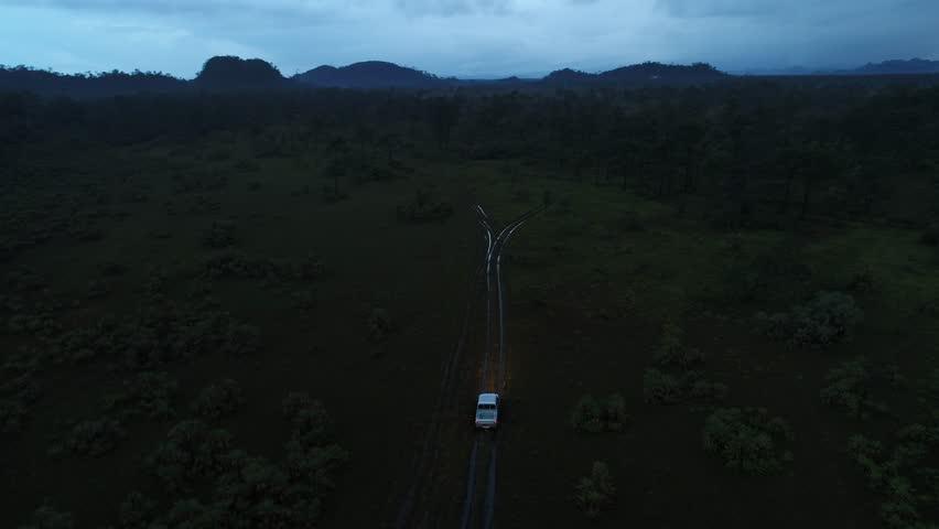 Safari truck driving through jungle at night
