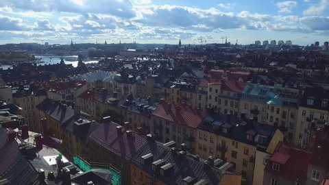 Stockholm City Views.  One of the most beautiful cities captured from unique perspectives. Aerial Drone view gives overview of Sweden's capital. Rooftops, churches, palace, Östermalm