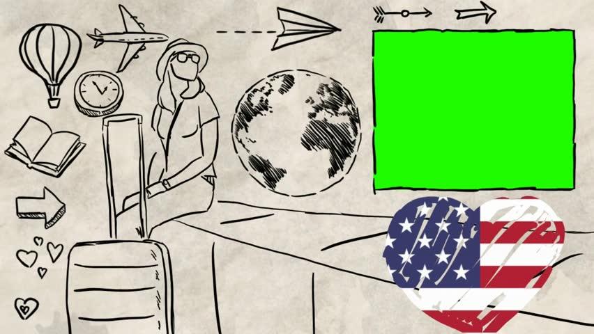 USA  hand drawn tourism | Shutterstock HD Video #1012042547