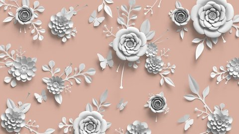 3d render, animation of growing flowers, floral background, blooming paper flowers, botanical pattern, paper craft, nude pink pastel color, 4k hd