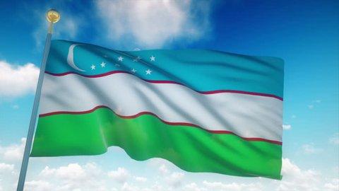 Uzbekistan Flag Waving 3D Rendering Blue Sky Background - Seamless Loop 4K