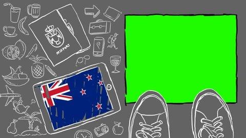 New Zealand hand drawn tourism