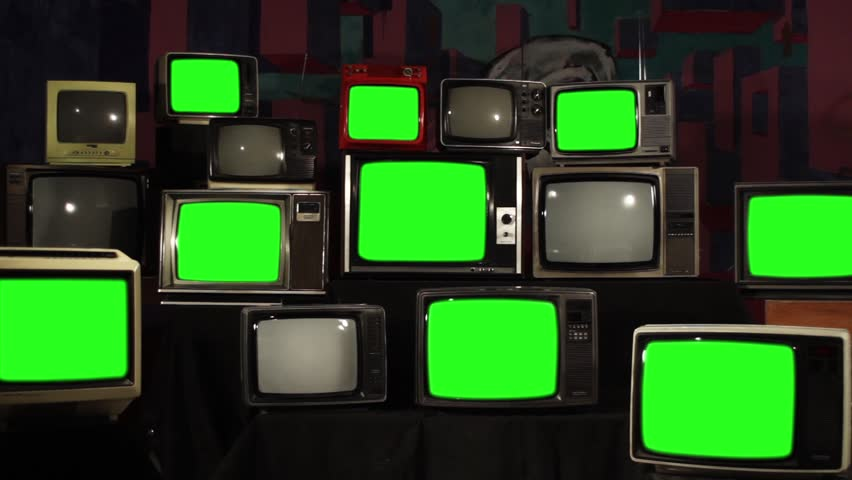 """Old TVs Turn On Green Screen. Zoom Out. You can Replace Green Screen with the Footage or Picture you Want with """"Keying"""" effect in After Effects (check out tutorials on YouTube).  