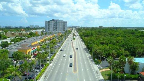 MIAMI, FL, USA - JUNE 1, 2018: Aerial video strip mall shopping center Miami Florida