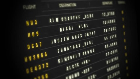 Airport Departure Board/ Animation of an airport departure board with flight, destination, time and decoding text