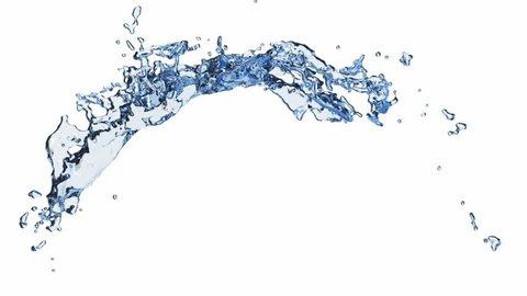 SLOW MOTION: Water splash in white background