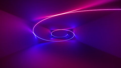 3d render, abstract background, fluorescent ultraviolet light, glowing neon line rotating inside tunnel, spinning helix, hypnotic spiral, blue red pink purple spectrum, looped animation