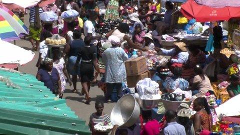 Ghana Makola Market in Accra Stock Footage Video (100