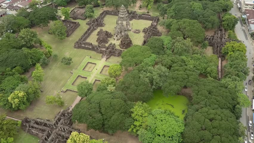 Park and Phimai largest Khmer temples of Thailand Prasat Hin Historical Park 4k drone shot. Nakhon Ratchasima Provice