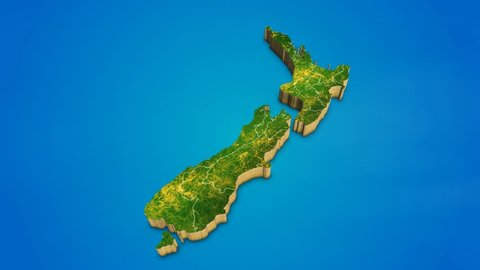 New Zealand country map satellite camera zoom in sky effect shot visualization