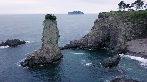 Aerial Veiw of Oedolgae Rock at Jeju Island, South Korea