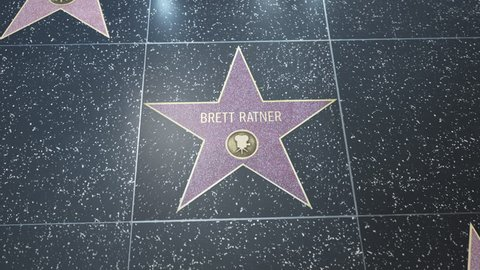 Hollywood, CA, USA - 05/03/18: Hollywood Walk of Fame Star with Brett Ratner's name. Wide and CU Detail. For editorial purposes. Must get approval for 'commercial' use