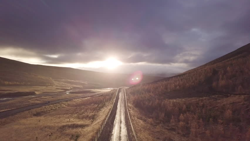 Cinematic shot at Sunset over road in Iceland   Shutterstock HD Video #1012302857