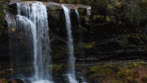 A beautiful waterfall near Highlands North Carolina. Nature background.