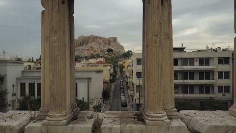 Athens gateway Arch Hadrian. Acropolis, Parthenon in background. 4K drone shot