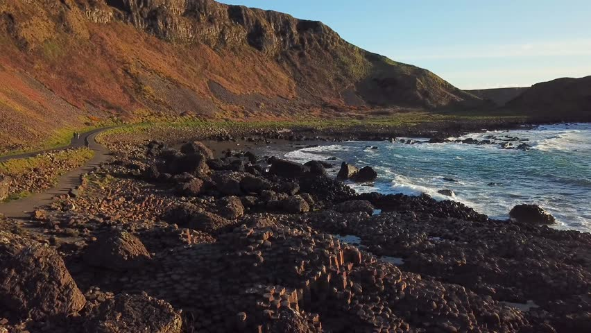 4k Aerial Shot of Giant's Causeway rocks in Northern Ireland | Shutterstock HD Video #1012347677