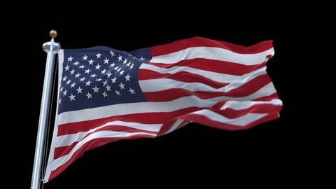 looping flag of usa with flagpole waving in wind.A fully digital rendering,The animation loops at 20 seconds.flag 3D animation with alpha channel included.